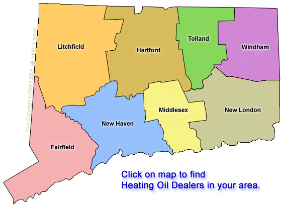 Clickable map of Heating Oil Dealers in Connecticut